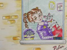 Character design, draw, drawing, littlegirl, cat, window
