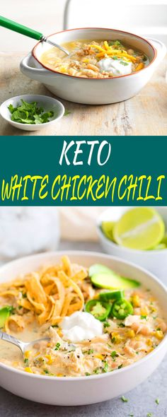KETO WHITE CHICKEN CHILI For keto cooking, strict keto, keto dinners, Chicken crockpot recipes, Chicken salad recipes keto recipes Low Carb Crockpot Chicken, Stew Chicken Recipe, Keto Crockpot Recipes, Chicken Salad Recipes, Diet Recipes, Healthy Recipes, Keto Chicken, Cake Recipes, Clean Eating