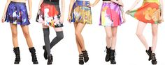 Hot Topic Disney Skirts!!! The Little Mermaid $19.88 Alice in Wonderland $18.38 Beauty and the Beast $18.38 Sleeping Beauty $18.38 The Lion King $18.38