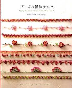 Edging with Bead Crochet Needle 2 Japanese Chinese Embroidery Craft Pattern Book Crochet Books, Bead Crochet, Crochet Crafts, Yarn Crafts, Crochet Projects, Crochet Borders, Crochet Patterns, Crochet Hat With Brim, Confection Au Crochet