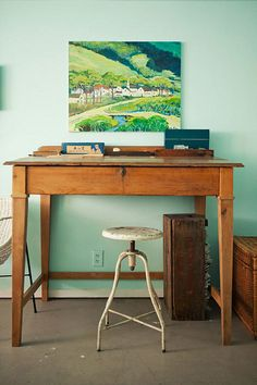 love the green picture and mint walls and simplicity of desk and chair