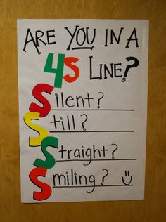 """Great idea and easy for students to remember while in line. You can even add pictures of students when you """"catch"""" them following the 4s. Line behavior, very positive, love it!"""