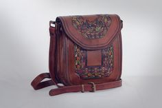 Two Compartment Leather Crossbody Satchel Bag, Engraved and Painted by Hand, Inside Zipper Pocket, Cell Phone Slip, Adjustable Leather Strap