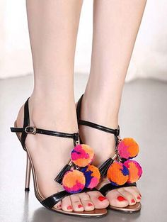 Plush ball tassel slim high heel sandals YS-C5598-Lovelyshoes.net