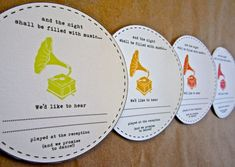 music themed wedding accessories ceremony reception decor song request card