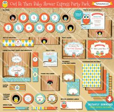 SALE  Owl Baby Shower Package  Printable Boy Girl by thepartystork