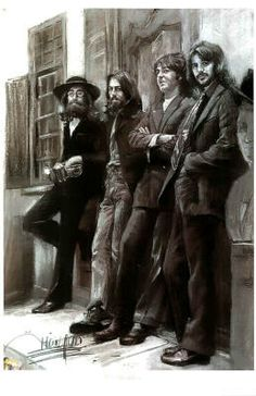The Beatles (Leaning Against Wall) Music Poster Print