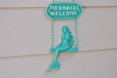 Beach Welcome Sign And Wall Decor - Mermaid Welcome Sign by ByTheSeashoreDecor - Found on HeartThis.com @HeartThis