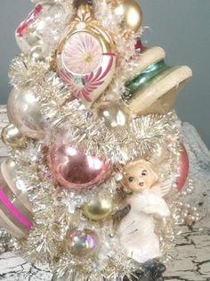 vintage pink tinsel tree  | Vintage Angels on Pink and Silver Vintage Ornaments Bottle Brush Tree ...