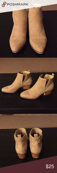 JustFab- Ankle Booties Camel/Tan color Pointed toe/ Small heel Size 7, worn once JustFab Shoes Ankle Boots & Booties