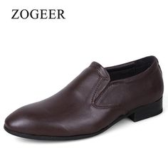 ZOGEER New 2017 Men Dress Shoes, Big Size Genuine Leather Mens Formal Shoes, Pointed Toe Oxfords Fashion Man Wedding Shoe