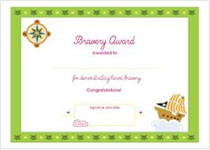 Free printable bravery certificates bravery awards for Bravery certificate template