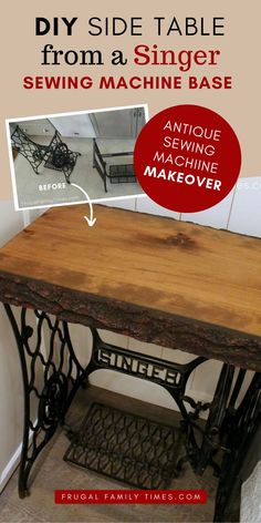 How to make live edge wood top tables with antique Singer treadle sewing machine bases. This DIY project was simple and required only the most basic DIY skills. Live Edge Timber Co makes it easy with their budget friendly live edge products - easy to find at Home Depot. Diy Furniture Projects, Diy Projects, Sewing Projects, Treadle Sewing Machines, Make A Table, Diy Artwork, Easy Diy, Simple Diy, Decoration