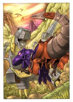Transformers Beast Wars,  Grimlock vs. TM2 Megatron.