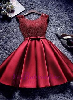 Bowknot-Sash Red Lace-Up-Back A-line Homecoming Dresses Quality Wedding Dresses, Prom Dresses, Evening Dresses, Bridesmaid Dresses, Homecoming Dress OKDRESSES offers Cheap Burgundy A A Line Short Satin Homecoming Dresses for prom with reasonable price and Cute Dresses, Short Dresses, Girls Dresses, Prom Dresses, Formal Dresses, Wedding Dresses, African Bridesmaid Dresses, Dama Dresses, Chiffon Dresses