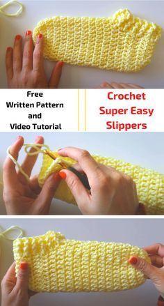 Crochet Socks Tutorial, Easy Crochet Slippers, Knit Slippers Free Pattern, Free Crochet Slipper Patterns, Crochet Boots, Crochet Videos, Crochet Accessories, Crochet Crafts, Crochet Stitches