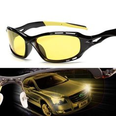 Night Driving Anti Glare Glasses Safety Driving Yellow Lens Night Vision Goggles #Unbranded #GogglesForSportCar