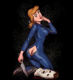 Artist Turns Disney Princesses Into Maniacs From Horror Movies In These Illustrations Creepy Disney, Disney Horror, Disney Halloween, Chucky, Pocahontas 2, Michael Myers, Freddy Krueger, Disney Girls, Disney Art