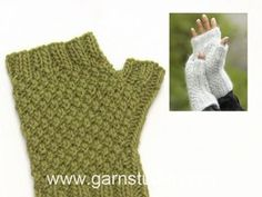 In this DROPS video we show how to work a wrist warmer with double moss st and rib. These wrist warmers are knitted in 1 thread DROPS ALPACA and 1 thread DROPS. Drops Design, Knitting Patterns Free, Free Knitting, Crochet Patterns, Wrist Warmers, Hand Warmers, Knitted Gloves, Fingerless Gloves, Magazine Drops