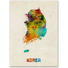 Trademark Fine Art Korea Watercolor Map Canvas Art by Michael Tompsett, Size: 24 x 32, Multicolor