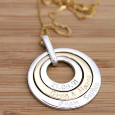 Personalised Yellow Gold or Rose Gold / Silver by MrsFickle Name Necklace, Washer Necklace, Or Rose, Rose Gold, Hand Stamped Jewelry, Gold Pendant, Solid Gold, Trending Outfits, Unique Jewelry