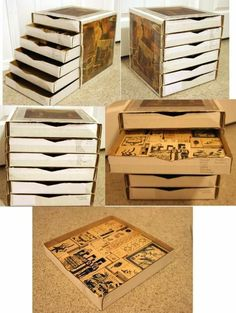 I have a use for the millions of pizza boxes I JUST threw away.-_-* Make a drawer cube out of pizza boxes. Craft Room Storage, Paper Storage, Craft Organization, Storage Ideas, Organizing Tips, Stamp Storage, Diy Storage Boxes, Wood Storage, Storage Solutions