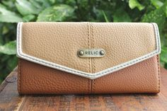 FOSSIL RELIC Brown & Tan Vegan Leather Wallet #FossilRelic #Envelope
