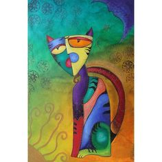 New Celestial Cat Cubism Painting ❤ liked on Polyvore