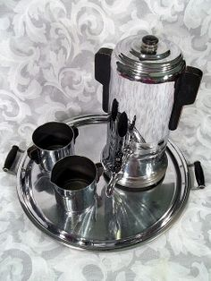 VTG 4 PCS ART DECO CHROME COFFEE SET :  8 CUP PERCOLATOR CREAMER SUGAR BOWL TRAY