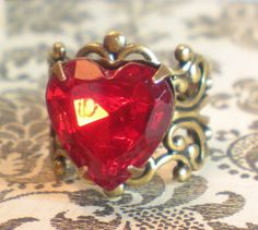 Red Heart Ring Ruby Red Heart Cocktail Ring Queen of Hearts