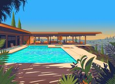Illustration of the iconic Stahl house overlooking the Los Angeles skyline. A beautiful modernist-styled building designed by Pierre Koenig in Corporate Design, Stahl House, Pierre Koenig, Los Angeles Skyline, City Of Angels, Googie, Retro Futurism, Grafik Design, Mid-century Modern