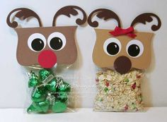 RUDOLPH GETS A GIRLFRIEND, Reindeer Poop and Magic Reindeer Punch Art Bag Toppers featuring the Top Note Die and Stampin' Up! Punches.  Included is the Magic Reindeer Food Poem.  Stamping Inspiration from MarieStamps.com