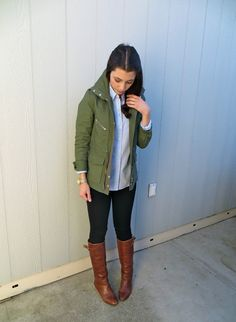 Green cargo jacket, blue button down, black skinnies, boots = adorable Fall Winter Outfits, Autumn Winter Fashion, Winter Clothes, Green Cargo Jacket, Chambray Skirt, Coast Dress, Casual Outfits, Cute Outfits, Scalloped Dress