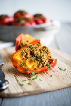 13. Curried Beef and Butternut Squash Stuffed Peppers #butternut #squash #recipes https://greatist.com/eat/butternut-squash-recipes-31-ways-to-enjoy-it-at-every-meal