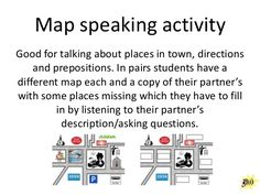 Map speaking activity Good for talking about places in town, directions and…