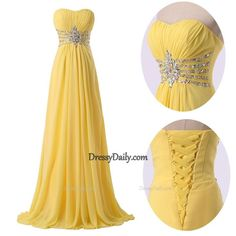 A Line Strapless Chiffon Ruched Beading Sequins Long Yellow Prom Dress - PROM