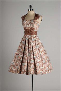 1950's Marjae of Miami Polished Cotton Dress