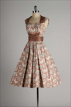 1950's Marjae of Miami Polished Cotton Dress