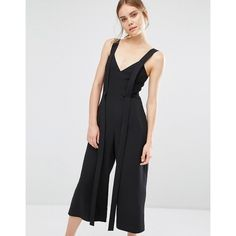 C/meo Collective Jumpsuit with Strap Detail ($105) ❤ liked on Polyvore featuring jumpsuits, black, tall jumpsuit, jump suit, plunging neckline jumpsuit and plunge-neck jumpsuits