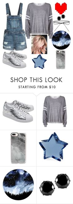 """""""Undertale Inspired"""" by lucy-wolf ❤ liked on Polyvore featuring adidas Originals, Wildfox, Casetify, Baccarat, West Coast Jewelry and Elizabeth and James"""
