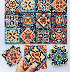 Beautiful handpainted ceramic tiles to adorn your home sweet home ? Amazing handpainted artwork on these ceramic tiles by Pottery Painting, Dot Painting, Ceramic Painting, Ceramic Tile Art, Mosaic Crafts, Hand Painted Ceramics, Mosaic Tiles, Art Tiles, Tile Patterns