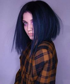 Graceful Dark Navy Blue Hair Colors for Trending ideas of dark blue navy hair colors for various hair lengths and hair textures to show off right now. You must know about these best hair colors if you really wanna get absolutely new hair color Blue Black Hair Color, Navy Blue Hair, Blue Colors, Blue Ombre, Bob Haircut For Girls, Girl Haircuts, Bob Haircuts, New Hair Colors, Cool Hair Color