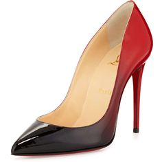 Christian Louboutin Pigalle Follies Degrade Red Sole Pump (€710) ❤ liked on Polyvore featuring shoes, pumps, heels, christian louboutin, sapatos, red sole pumps, high heeled footwear, pointy toe high heel pumps and pointed toe shoes