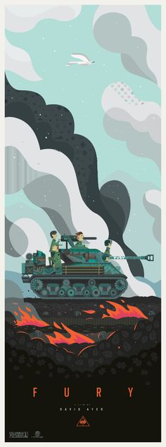 One of my favorite movies this year was the new David Ayer film, Fury. I loved the colors in the film and the design of the tank and how all the shapes played together to make something so manufactured look so personal and iconic. I decided to create a long poster that transitioned from light to dark and simple to complex to highlight and illustrate the path of war going from darkness and death to light and peace with the tank in the middle as the judge. Hope you enjoy it.