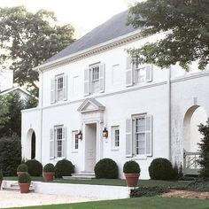 FOR THE HOME || All white traditional facade with shutters || NOVELA BRIDE...where the modern romantics play & plan the most stylish weddings... www.novelabride.com @novelabride #jointheclique