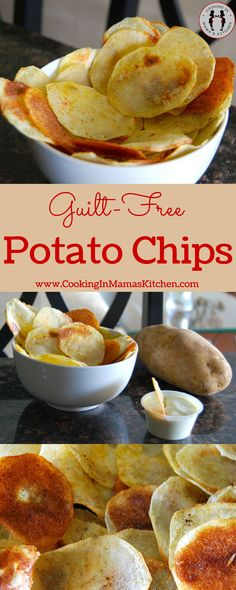 Healthy Snack Idea: Guilt-Free Baked Potato Chips Recipe. Fast, Easy Recipe and Oh Boy Are They Delicious! http://www.cookinginmamaskitchen.com/guilt-free-potato-chip-recipe/