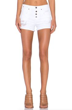 JOE'S JEANS Stay Spotless Distressed Button Fly Denim Shorts White 26 $149 #247 #JoesJeans #ShortSets