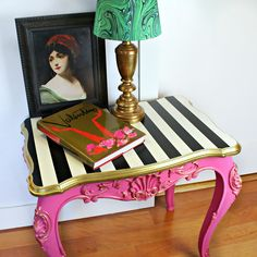 Thrift store table makeover! #DecoArt #OutdoorLiving #MarieAntoinette