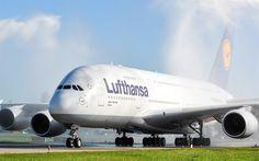 Herunterladen hintergrundbild 4k, airbus a380, lufthansa, passagierflugzeug, flugzeug, flughafen, passagier-moderne flugzeuge, airbus