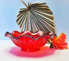 Beautiful Cherry Red Open Rose Imperial Carnival by RustyWhistle